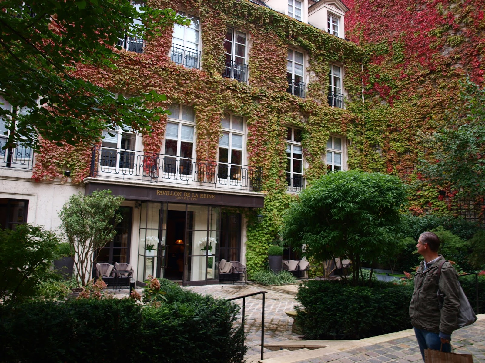 Vine covered Paris hotel in fall - by Hello Lovely Studio