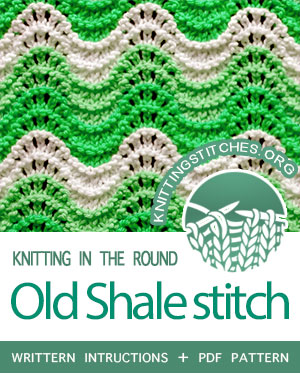 Circular Knitting - Old Shale in the round.