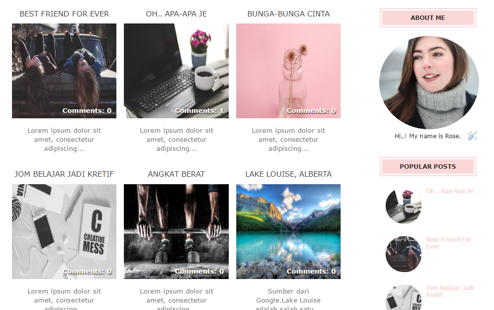 Free Peach/Pink Blogger Template