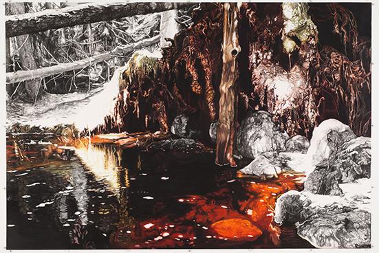 Erik Odijk  Skog, 2003  charcoal and pastel on paper  205 x 303 cm