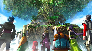 The main heroes from Dragon Quest XI standing in front of a huge tree