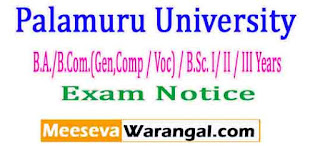 Palamuru University B.A./B.Com.(Gen,Comp / Voc) / B.Sc. I/ II / III Years Mar/Apr-2017 Exam Notice