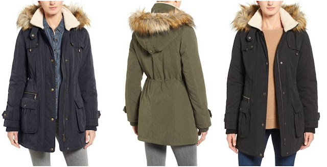 Halogen Hooded Anorak with Faux Fur Trim $99 (reg $229)