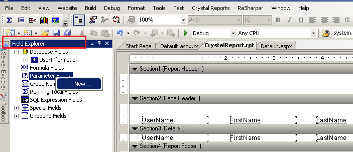 Crystal report with sql stored procedure parameter and visual.