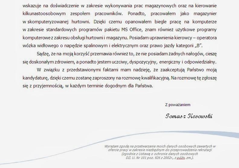 Profesjonalny doradca zawodowy Przykładowy list motywacyjny