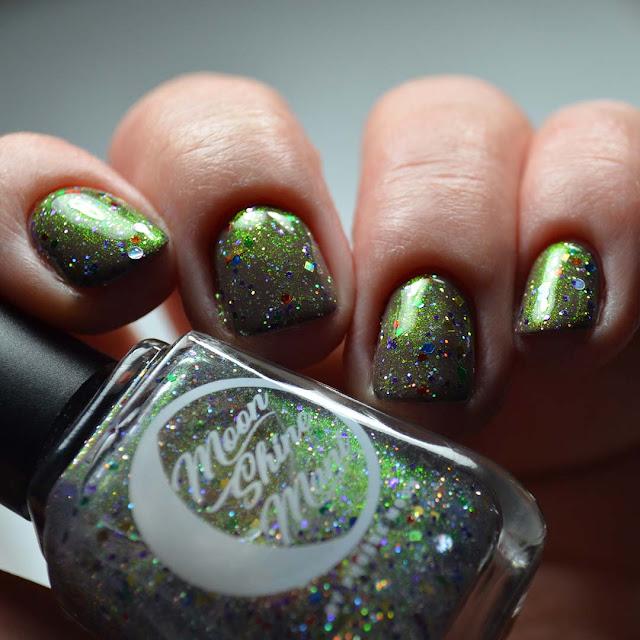 holiday nail polish swatch low light angle