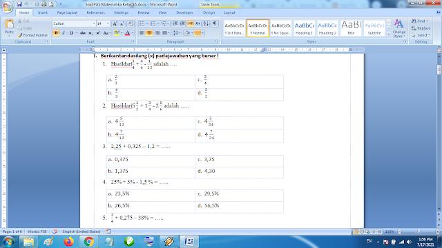 Download Soal PAS Matematika Kelas 5 SD MI Semester 1 Kurikulum 2013 Revisi Terbaru