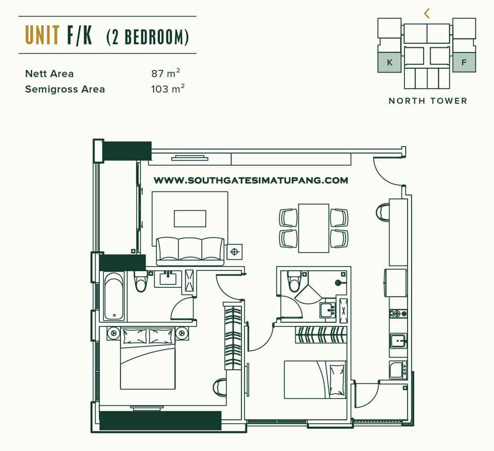 Floor Plan Unit 2 BR Apartemen Southgate Simatupang