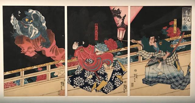 Photo of Tsukioka Yoshitoshi woodblock print 'Vanquishing the badger', 1860