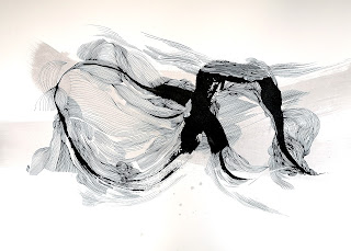 ©_2020_Les dunes XIX  (70x50cm) sur papier 240g.  Dessin à l'encre de chine, structuré  à la plume et au pinceau.