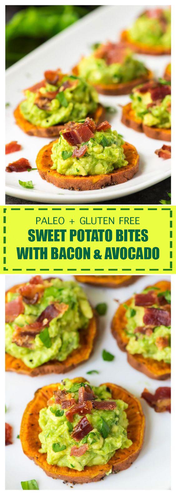 Paleo + Gluten Free Sweet Potato Bites With Bacon & Avocado