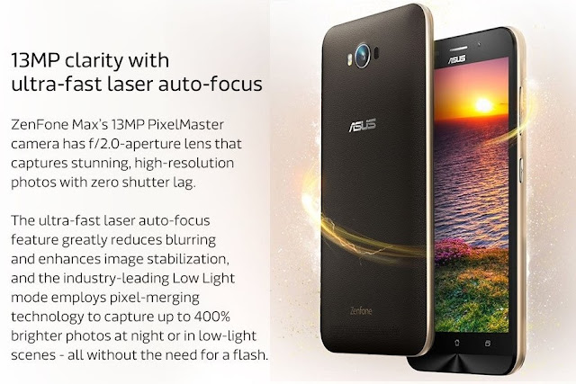 Zenfone Max 5 13MP clarity with ultra fast laser auto focus camera