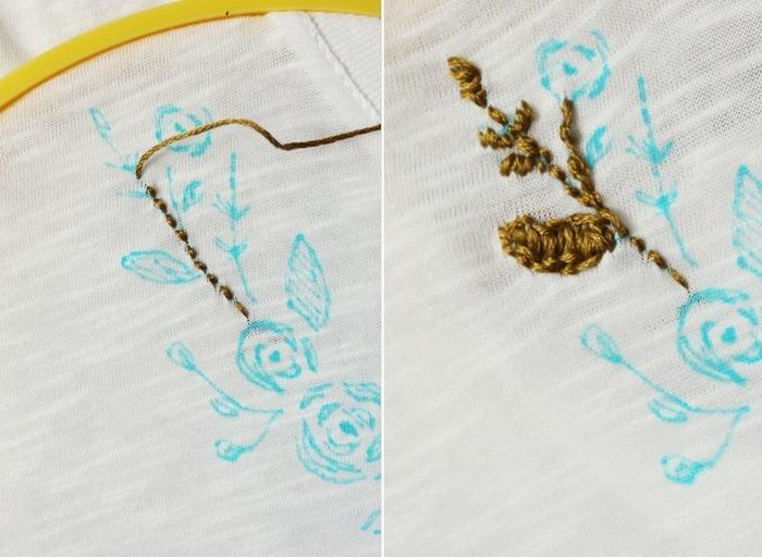 Chi tiết cành hoa dùng mũi thêu lướt vặn