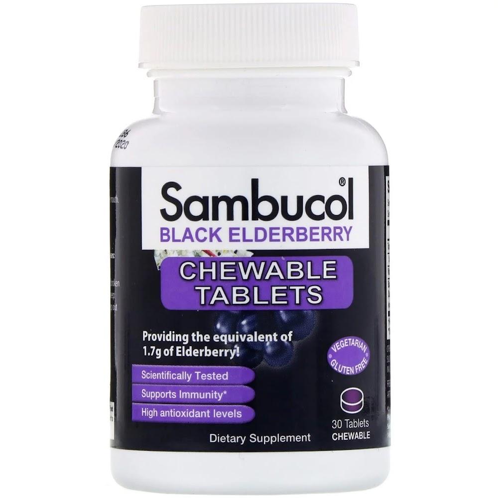 Sambucol, Черная бузина, Оригинальная формула, 30 жевательных таблеток