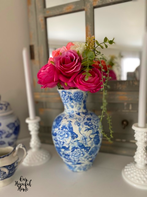 dreamy shabby chic chinoiserie vase faux pink floral bouquet