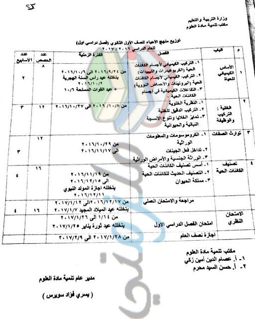 توزيع منهج الاحياء للصف الاول الثانوي 2017