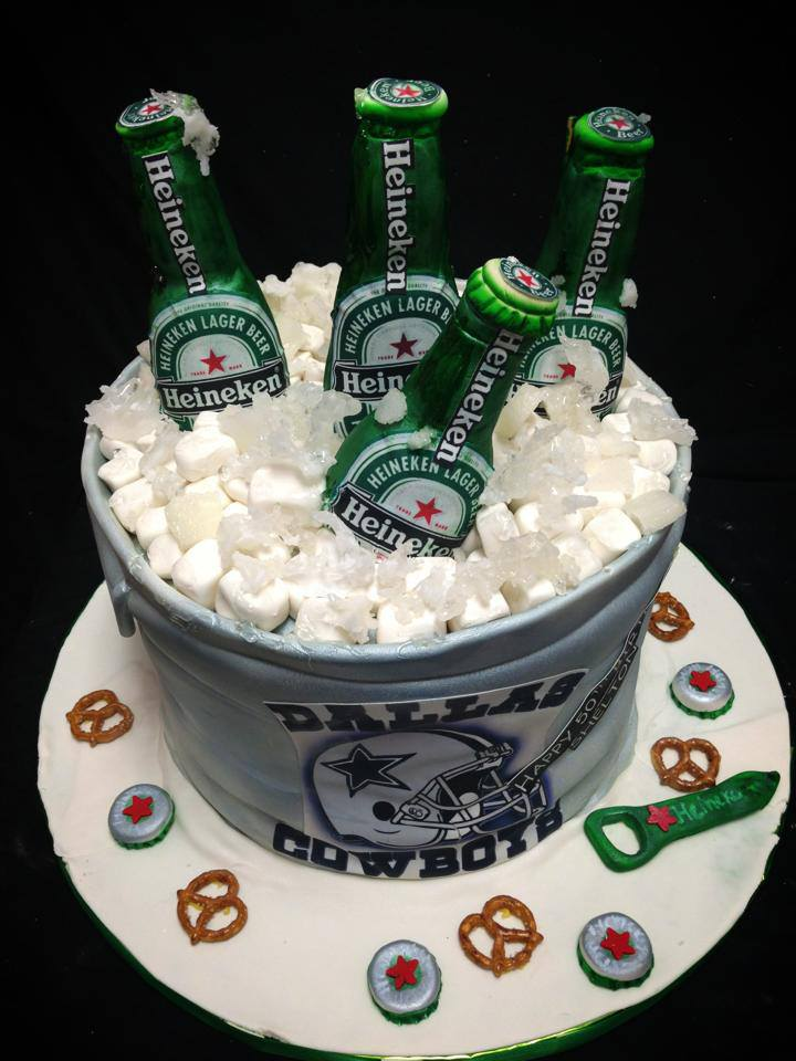 50th Birthday Heineken Beer Bucket Cake