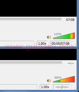 Regolatore del volume VLC prima e dopo la modifica Qt