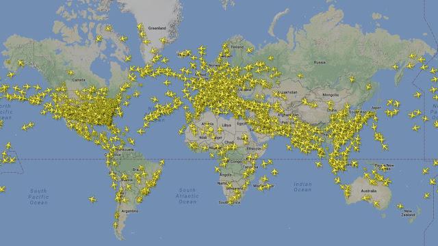 Samoloty pasażerskie na mapie