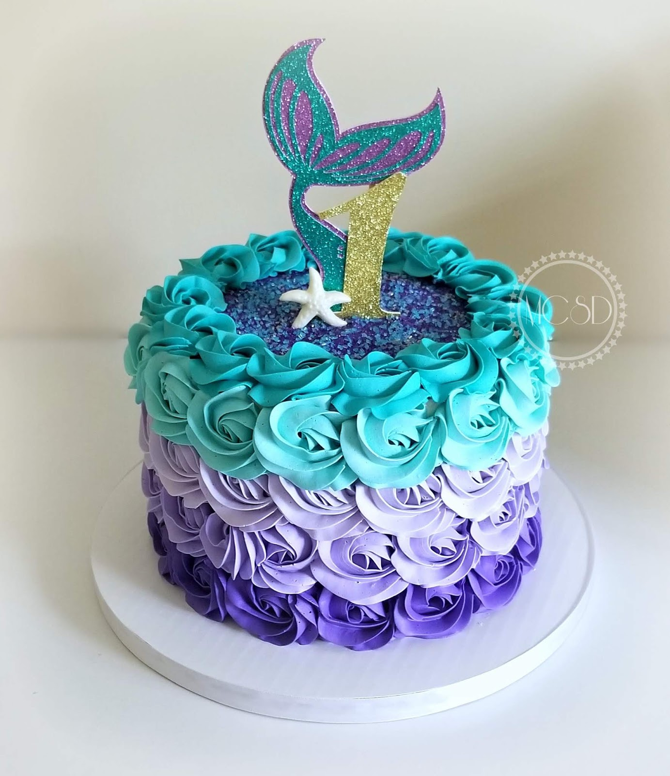 MyCakeSweetDreams: Mermaid Ombre Rosette 1st Birthday Cake