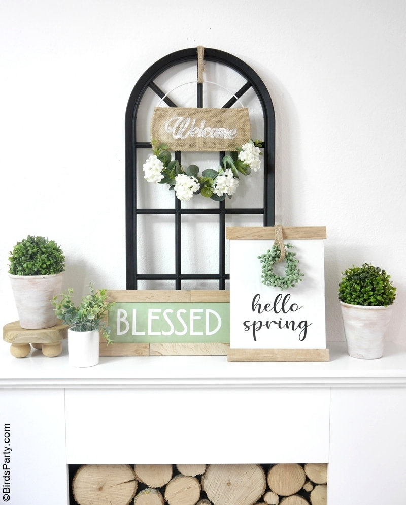Farmhouse Trash To Treasure DIY Décor for Spring - easy, inexpensive craft projects that uses recycled materials and FREE printables to download! by BirdsParty.com @BirdsParty #diy #carfts #freeprintables #farmhousedecor #farmhouse #trashtotreasure #farmhousecrafts #farmhousesign #modernfarmhouse