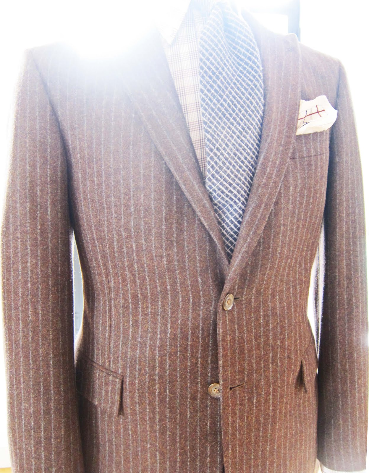 810088ce02d Silhouette and details are carried over to tweed and herringbone jackets.  What you see in the windows on Savile Row or in Holland   Holland.