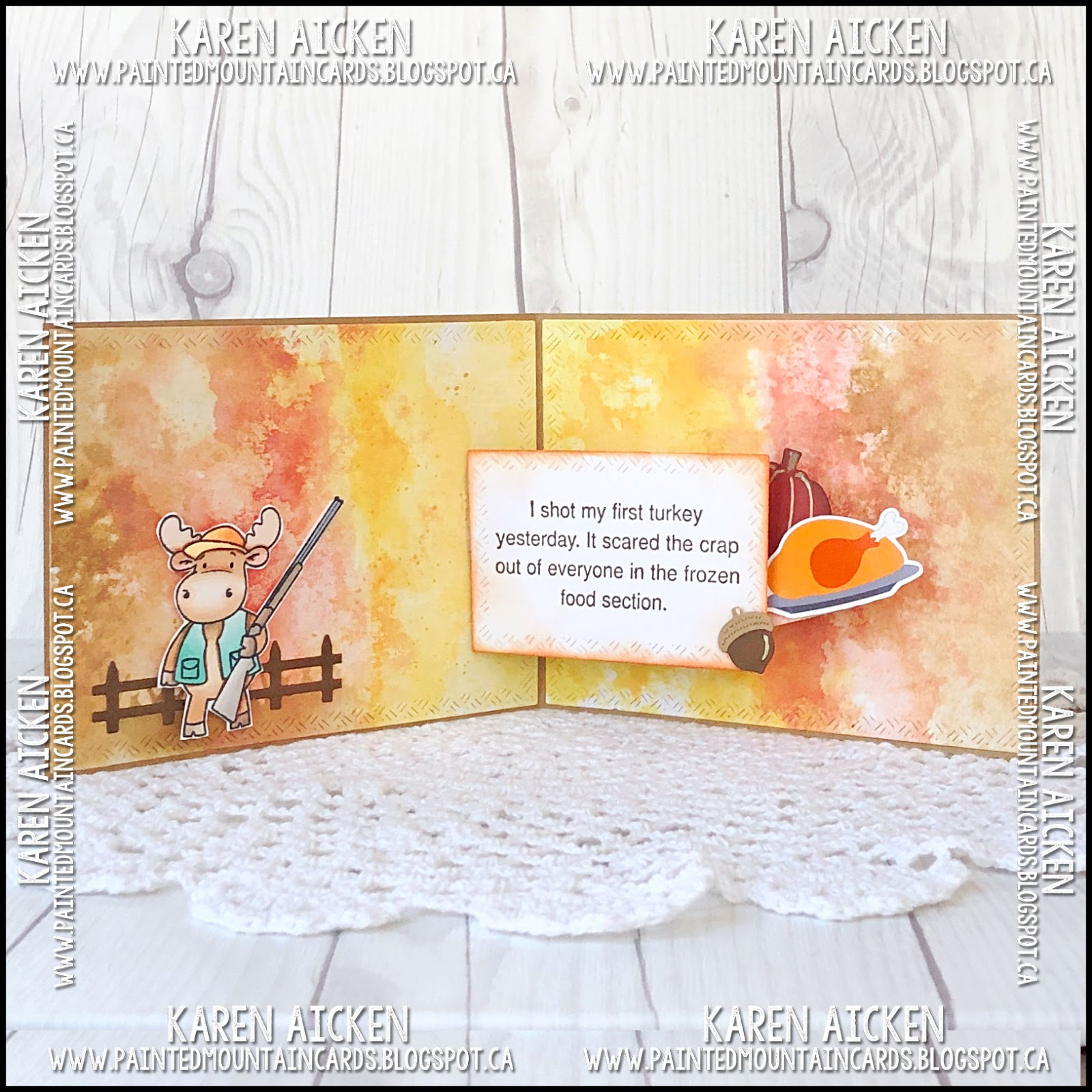 Painted Mountain Cards Turkey Shot Spinner Square Pop Up Card