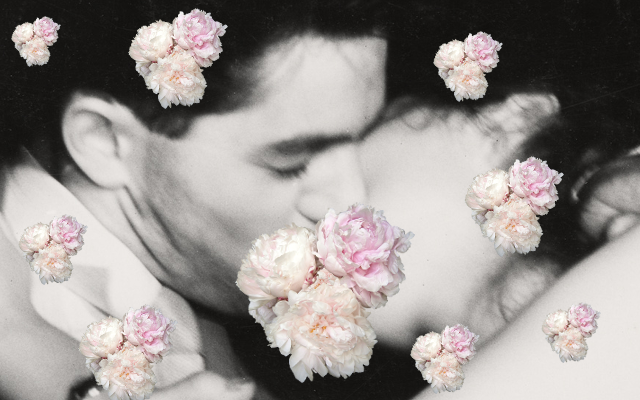 Colagem de casal se beijando e flores