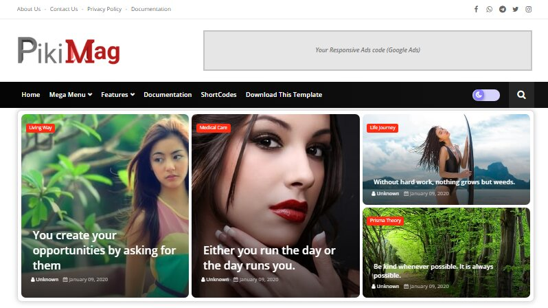 Piki Mag blogger template is blogging mega level with advanced features including also fast loading and a clean look blogging theme.