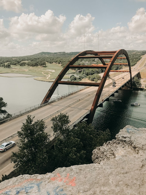 View of Pennybacker Bridge in Austin, Texas.