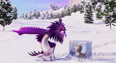 "Movie still featuring Leslie Jones as the voice of the purple eagle Zeta in ""The Angry Birds Movie 2"" where she yells at her dog, who is frozen in a block of ice"