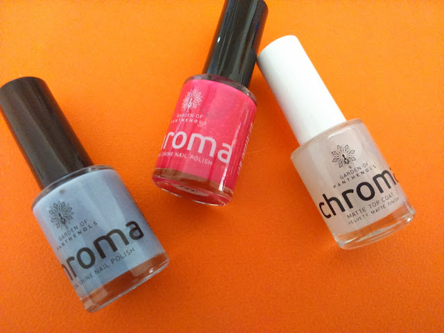 Garden of Panthenols Chroma Extra Shine Nail Polish in #660 and #354 and Matte Top Coat