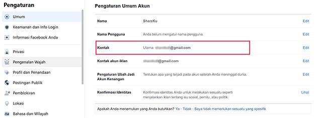 Cara Melihat Email FB Sendiri Melalui PC