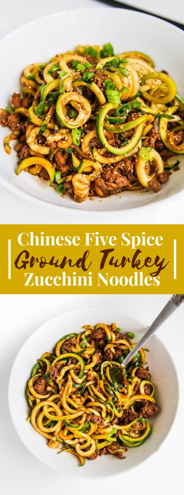 CHINESE FIVE SPICE GROUND TURKEY ZUCCHINI NOODLES RECIPE #lowcarb #healthydinner