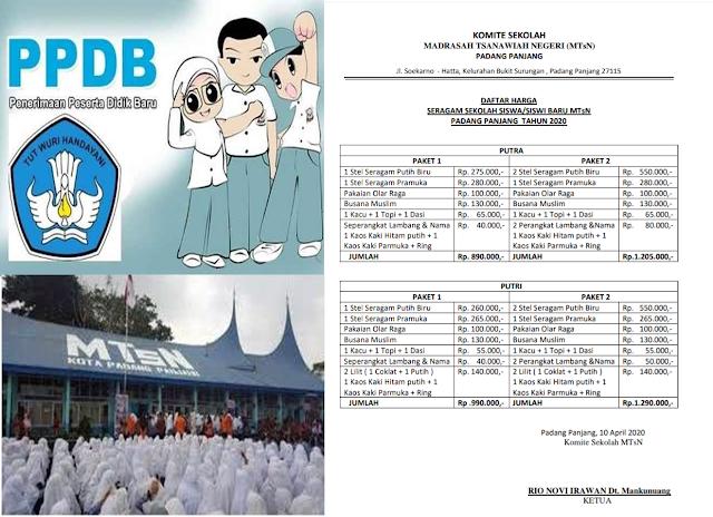 Wali Murid MTsN Padang Panjang Merasa Terpaksa Membeli Kelengkapan Anaknya Melalui Komite
