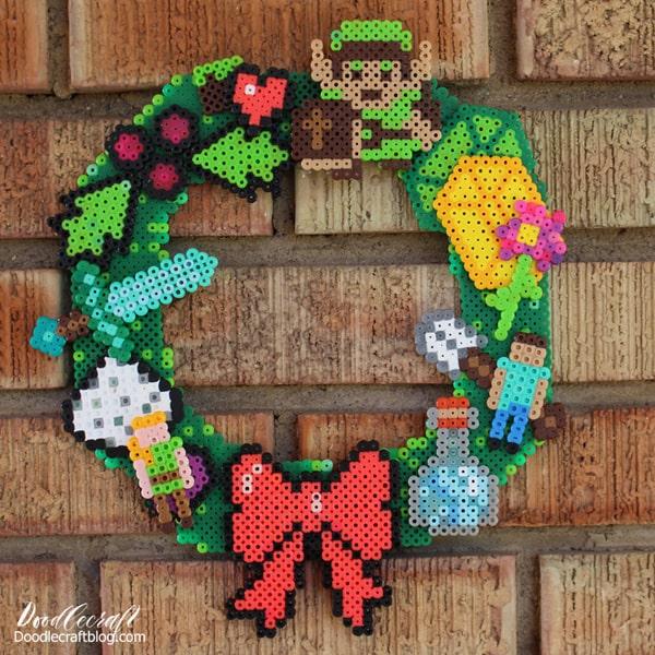 pixel style perler bead Legend of Zelda minecraft geekery wreath