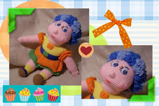 crochet funmigurumi doll with blue curls