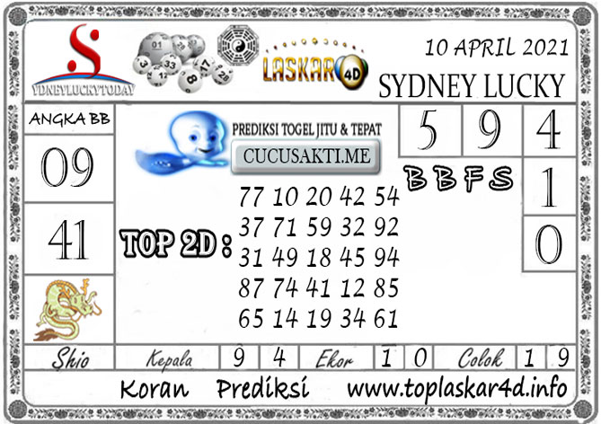 Prediksi Sydney Lucky Today LASKAR4D 10 APRIL 2021