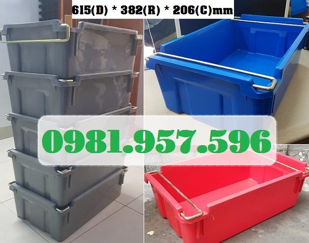 Hộp nhựa có quai, thùng nhựa có quai, thùng nhựa quai sắt, thùng đựng linh kiện các loại