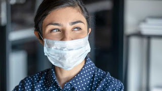 Women wearing Face Mask and Smiling