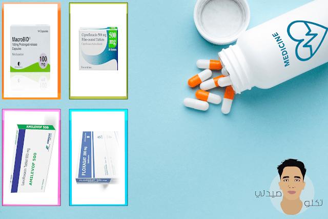 المضادات الحيويه الفعاله في علاج التهاب المثانة البولي Nitrofurantoin   Ciprofloxacin   Levofloxacin   Gatifloxacin
