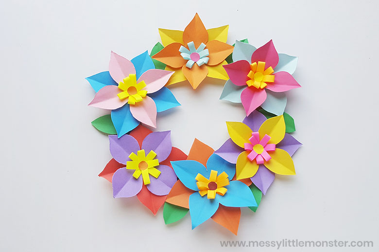paper flowers wreath craft for kids