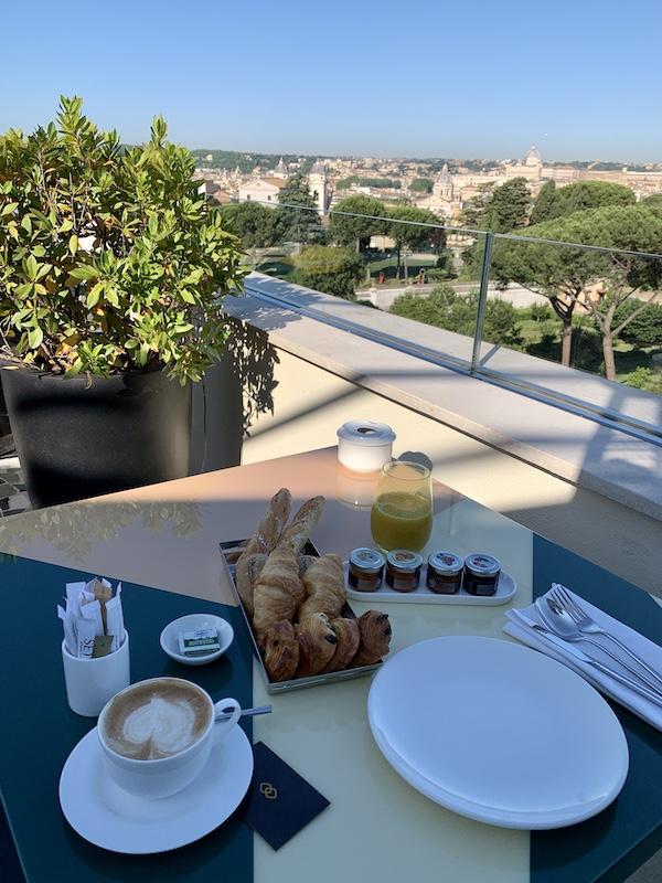 Breakfast view from Settimo Restaurant Hotel Sofitel Villa Borghese Rome-Gillian Longworth McGuire