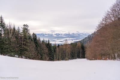 Widok na Tatry z Przełęczy Szopka