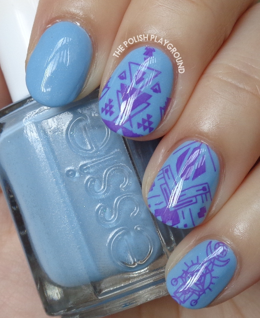 Blue with Purple Tribal Inspired Stamping Nail Art