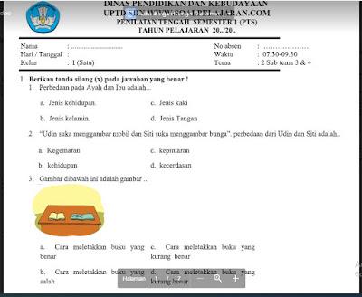 UTS/PTS Tema 2 (Subtema 3 & 4) Kelas 1 Sem. Ganjil SD/MI