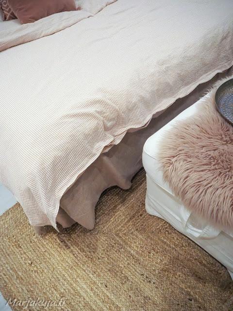 koti sisustus boheemi boho skandinaavinen juuttimatto makuuhuone