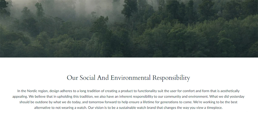 Nordgreen watches - sustainability