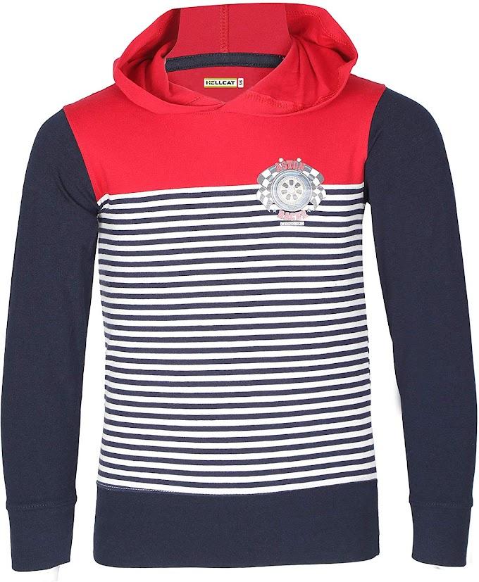 Hellcat Boy's T-Shirts Full Sleeve Cotton Fashion Tshirt with Hood