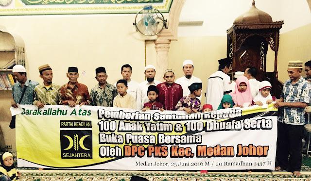 PKS Medan Johor Gelar Buka Puasa Bersama dan Santunan Dhuafa dan Anak Yatim